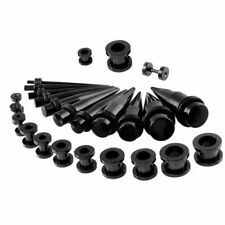 Titanium Ear Stretching Black Screw Tunnels & Tapers Set 36 Parts