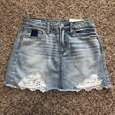 American Eagle Womens Skirt 0 Festival Mini Denim Jean Lace Distressed Destroyed