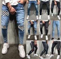 Mens Ripped Biker Skinny Jeans Frayed Destroyed Slim Trousers Casual Denim Pants