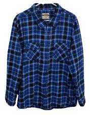 Open Trails Mens XL *Fits Like A Large* Blue Plaid Flannel L/S Button Down Shirt