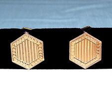 / Art Nouveau Link Type Cufflinks Solid 14K Yellow Gold Art Deco