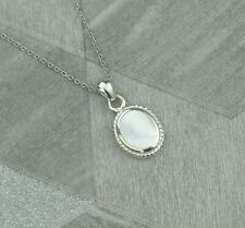Sterling Silver July Cancer Birthstone Pendant Necklace In Mother of Pearl