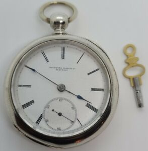 Antique Working 1880 ROCKFORD Victorian Coin Silver 9J Key Wind Pocket Watch 18s