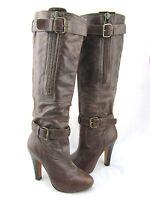 STEVEN STEVE MADDEN Entrap Brown Leather Buckle Strap Zipper Knee High Boots 6.5
