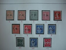 TIMBRES FRANCE FRANCHISE  COLLECTION du n°1 au n°12 NEUF* COTE 457€ SUPERBE