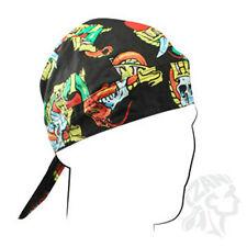Love Hate Tattoo Look Heart Skull Ribbon Doo Rag Headwrap Cap Biker Durag Black