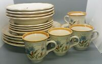 4   5 pc place settings vintage made in japan mikasa blue daisy speckled china