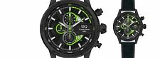 NEW Ulysse Girard 14083 Mens Masson Watch Black/Green Accent Chronograph Leather