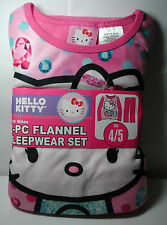 New Girls HELLO KITTY Pink 2 piece Flannel Pajamas Sleepwear Set 4/5 4 5