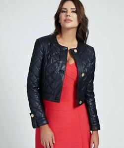 Marciano Guess Black Quilted Faux Leather Jacket 38