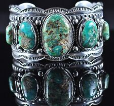 Navajo Sterling Silver Four Leaf Clover Variscite Row Cuff Bracelet Andy Cadman