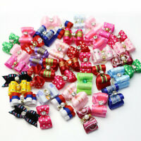 10-100Pc 3D Small Puppy Pet Dog Rhinestone Hair Bow Bands Grooming Best: W9X4