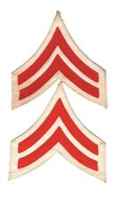 Army Rank Chevron: Artillery Corporal, pair - 1902 style, red on white