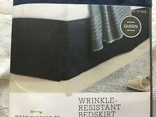 "Threshold Wrinkle Resistant Bedskirt Navy Blue NIP Queen Size 15"" Drop"