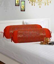 Indian Silk Cushion Cover Back Yoga Sofa Neck Brocade Silk Pillowcase Bolster