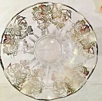 """Vintage Elegant Glass Silver Overlay Bowl 12"""" Fluted Ruffle Centerpiece Grapes"""