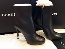 $1275 CHANEL 37 Black Around Toe Ankle Boots SHORT Booties Metal Heel