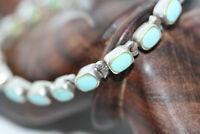 """Vintage 925 Silver 8.6 ctw No Vein Blue Persian 20 Turquoise Women's Bracelet 7"""""""