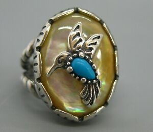 Vtg Carolyn Pollack Relios Sterling Silver Turquoise Hummingbird Southwest Ring