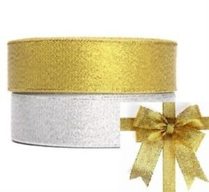 Glitter Effect Sparkle Ribbon 6mm, 12mm, 25mm Shimmer Metallic Gold and Silver