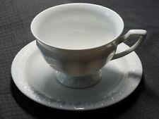 Kaffeetasse mit Untertasse Rosenthal Maria | Porzellan weiß mit Rosenrelief