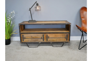 Rustic TV Cabinet Mango Wood Entertainment Unit Industrial TV Stand 6339