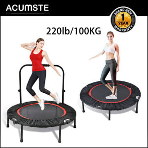 40'' Jumping Round Trampoline Adult Kids Safety Net Pad Collapsible Exercise Fun