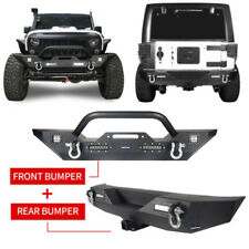 For 07-18 Jeep Wrangler JK Front Bumper+ Rear Bumper w/ D-Rings & LED Lights