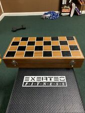 """Wooden Folding Chessboard 16"""" with Brass & Metal Alloy Chess Pieces Game Set"""
