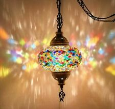 Single Chandelier Handmade Mosaic Hanging Lamp Light Ceiling Stained Glass Color