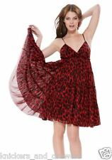 NWT S Betsey Johnson Sexy Red Leopard Mesh Tiered Babydoll Empire Waist Dress