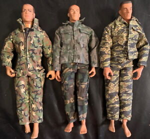 "GI JOE Poseable Action Figures Lot of 3 Vintage 12"" Military Camo 1990s/2000s C"