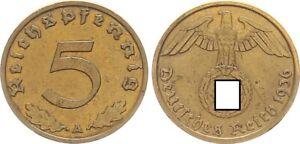 Drittes Reich 5 Pfennig 1936 A seltenes Jahr sehr schön 64359