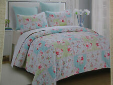 Abbey Home Decor Floral 3 Piece Reversible Full/Queen Quilt Set ~ Rose, Flowers