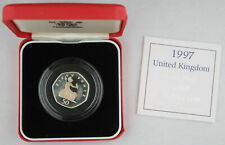 New listing Great Britain 1997 16 Gram Silver Proof 50 Pence Piedfort Coin +Box & Coa