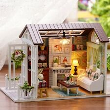 Wood Miniature Handcraft DIY Dolls House LED Kit Assembled Toy Dollhouse Villa