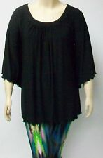YOEK,AMSTERDAM,BLACKTHEIR SIZE LARGE 3/4 SLEEVE TUNIC MICROPOLYESTER AND SPANDEX