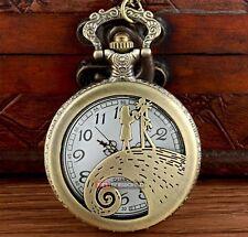 Bronze Nightmare Before Christmas Sally & Jack Pocket Watch Pendant + Necklace