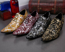 Men's Nightclub Snakeskin Dress Shoes Oxfords Formal Lace Up Brogues Business