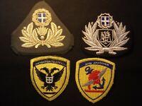 Griechenland Mütze Abzeichen und Ärmelabzeichen, Heer, Polizei, Marine, 4 stücke