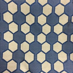 """Zoffany Honeycomb Curtain Craft Cushion Upholstery Fabric 3mtrs Woven 54""""in Blue"""