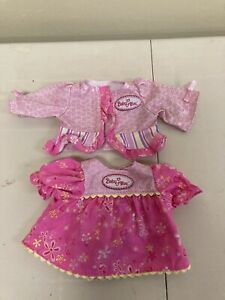 """2 Hasbro Baby Alive Baby Doll 16"""" 2006/2007 PINK Dresses Shirts Clothes Lot"""