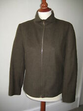 PIED A TERRE khaki green wool blend fully lined zipped jacket, UK size 10, EU 38