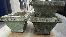 6 anciennes jardinieres ciment pierre reconstituée jardin annees 60 bac a fleurs