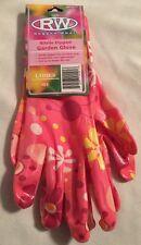 Rugged Wear Ladies Sz M/L Pink Nitrile Dipped Decorative Garden Gloves