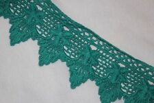 """1 yard Dark Mint Green Cotton VENISE embroidered Victorian Trim lace 2.25"""" wide"""