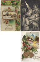 Vintage Assorted Christmas Postcards Circa 1800's-1900's Lot of 5 +