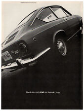 1968 FIAT 850 Fastback Coupe Vintage Original Print AD - Black car photo USA