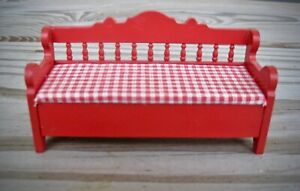 Lundby vintage miniature doll house red wooden bench  red & white fabric seat