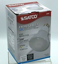 Satco S7247 15W Medium Base R30 Reflector 2700K 700 Lumens CFL 10,000 Hours
